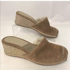Ugg slip on mules platform wedge leather shoes 7